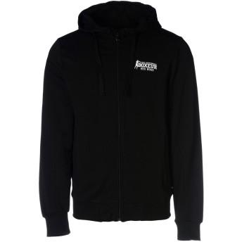 《9/20まで! 限定セール開催中》BOXEUR DES RUES メンズ スウェットシャツ ブラック S コットン 95% / ポリウレタン 5% SWEATSHIRT ZIP CAPPUCCIO