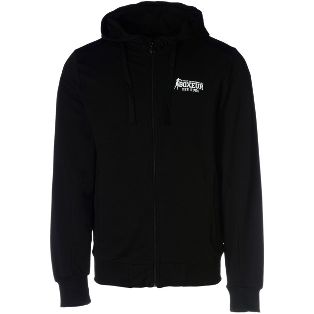《期間限定セール開催中!》BOXEUR DES RUES メンズ スウェットシャツ ブラック S コットン 95% / ポリウレタン 5% SWEATSHIRT ZIP CAPPUCCIO