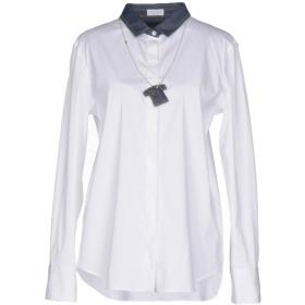 《セール開催中》BRUNELLO CUCINELLI レディース シャツ ホワイト L コットン 72% / ナイロン 23% / ポリウレタン 5%