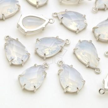 [2個入り]しずく形White Opalホワイトオパールカラーガラスシルバーチャーム、パーツ/PD-2763-OR