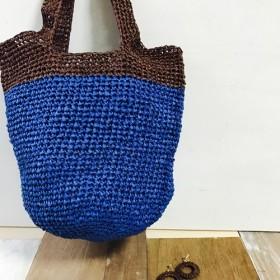 手編みブルー籠バッグ ピアス付き