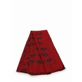 【中古】エルメス HERMES ストール ショール 赤 レッド 黒 小物 総柄 カシミヤ シルク レディース