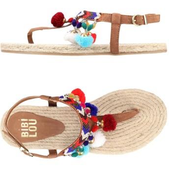 《セール開催中》BIBI LOU レディース トングサンダル カーキ 36 革 紡績繊維