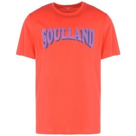 《セール開催中》SOULLAND メンズ T シャツ レッド S コットン 100% OZZEL