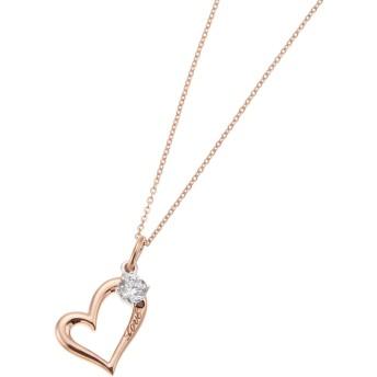 ネックレス - アクセサリーショップPIENA レッドダイヤモンドが煌めくオープンハートネックレス キュービックジルコニア シルバー925製 ピンクゴールド 大人かわいいレディースプレゼント用にも