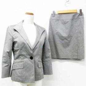 【中古】22オクトーブル 22 OCTOBRE スーツ セットアップ スカートスーツ ジャケット スカート ひざ丈 無地 コットン 長袖 グレ