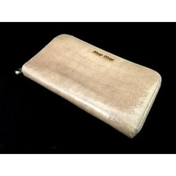 【中古】ミュウミュウ miumiu ラウンドファスナー 長財布 ウォレット 型押しレザー ベージュ 薄茶 5M0506 レディース