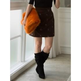 [MERCURYDUO]フラワー刺繍ベロアスカート