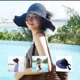 【24時間以内国内配送】【送料無料】 帽子 紫外線 小顔効果 レディス 涼しい 紫外線 つば広 折りたたみ UVカット ハット 海水浴