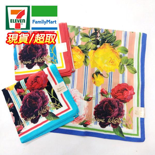 vivienne 花卉條紋手帕/領巾 日本進口/100%純棉 附信封袋包裝