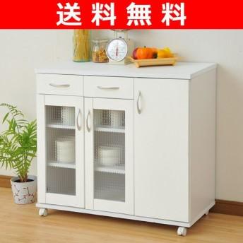 キッチンカウンター ガラスキャビネット(幅90) FMF-C8590GC(WH ホワイト