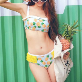 ビキニ - aimoha ビキニ 水着 柄 バンドゥ フリル パイナップル スイムウェア レディース リゾート プール 海