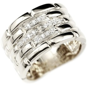メンズ ダイヤモンドリング ホワイトゴールドk10 メタルバンド 時計 指輪 リング ダイヤ 10金 男性用 幅広 人気 ストレート 送料無料