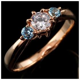 婚約指輪 エンゲージリング ダイヤモンド リング ブルートパーズ 指輪 大粒 ダイヤ ピンクゴールドK18 18金 ダイヤモンドリング ダイヤ ストレート 宝石
