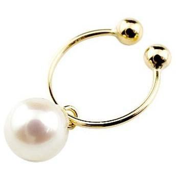 イヤリング パール 真珠 フォーマル 片耳用 一粒 イエローゴールドk18 フープイヤリング 6誕生石 18金 ノンホールピアス レディースイヤリング 送料無料
