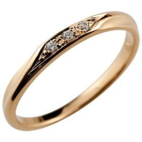 ピンキーリング ダイヤモンドリング 指輪 ピンクゴールドk10 10金 ダイヤ つや消し シンプル レディース ストレート 送料無料