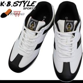 メンズ スニーカー KB.STYLE 6003 ホワイト/ブラック カジュアルシューズ メンズシューズ 靴 ひも靴 ダブルクッション