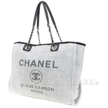 シャネル トートバッグ ドーヴィルライン ショッピング A67001 CHANEL バッグ ロゴ キャンバス バッグ