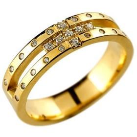 メンズ リング クロス ダイヤモンドリング ダイヤ 幅広 指輪 ピンキーリング イエローゴールドk18 18金 ストレート 送料無料