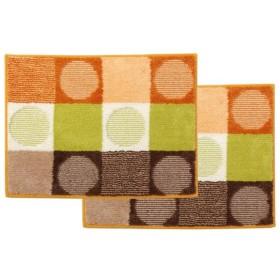(代引不可)イケヒコ・コーポレーション:バスマット 洗える 『チェロ』 オレンジ 約45×60cm 滑りにくい加工 2枚組 3424240