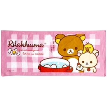 メール便可・リラックマ片面パイルフェイスタオル(まちどおしい)ピンク