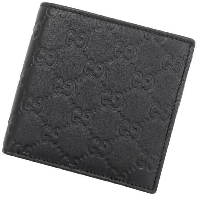 326ba22a6a47 グッチ 財布 グッチシマ レザー ブラック 150413 アウトレット品 GUCCI 二つ折り財布 メンズ