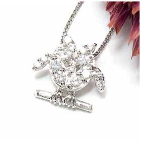 ふくろう ネックレス ダイヤモンド ホワイトゴールド 開運 ダイヤモンドペンダント ダイヤ 18金 送料無料
