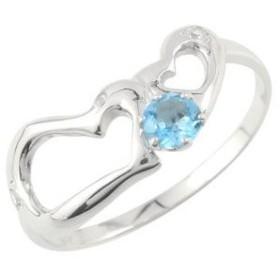 ダイヤモンド オープンハート ピンキーリング ホワイトゴールドk10リング 指輪 10金 ダイヤ 宝石 送料無料