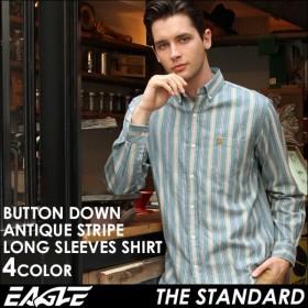 シャツ 長袖 メンズ ボタンダウン ストライプ 大きいサイズ 日本規格 89023|ブランド EAGLE THE STANDARD イーグル|長袖シャツ ワイシャツ Yシャツ カジュアル