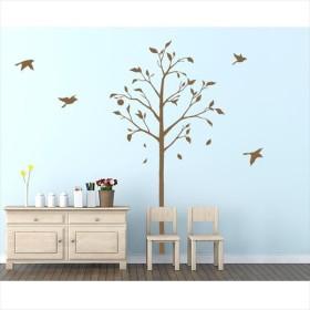 東京ステッカー 高級ウォールステッカー 植物 林檎の木と小鳥 Sサイズ *TS0051-CS ブラウン  『おしゃれ かわいい』 『壁 シール』