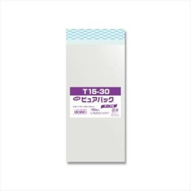 シモジマ:OPP袋 ピュアパック T15-30 テープ付き 100枚 006798334