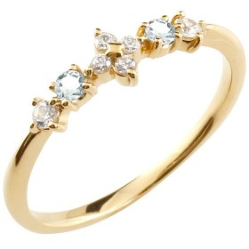 フラワー 花 リング アクアマリン ダイヤモンド イエローゴールドk10 ピンキーリング 指輪 華奢リング 重ね付け 10金 レディース 3月誕生石 宝石 送料無料