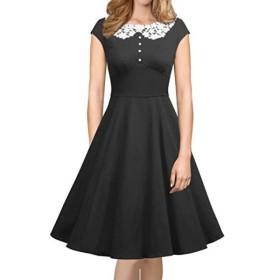 フィフティーズ スウィングドレス ロカビリー レトロ iLover Womens Classy Vintage Audrey Hepburn Style 1940's Rockabilly Evening Dress
