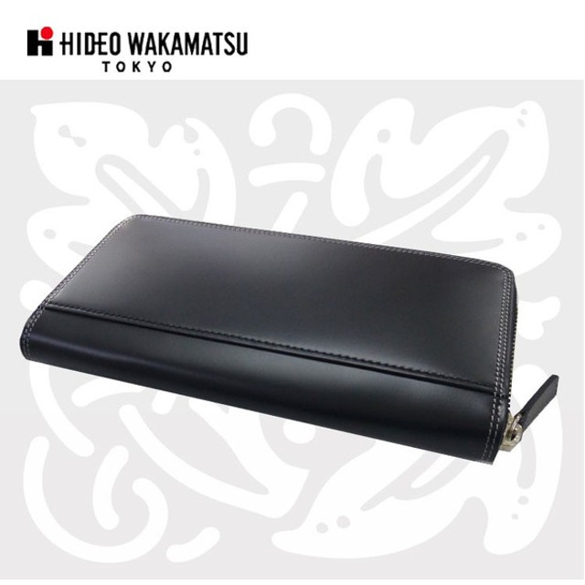 財布 メンズ 長財布 ラウンドファスナー HIDEO WAKAMATSU コードバン長財布'ボンド'ブラック