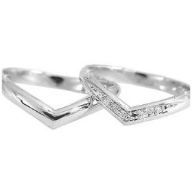 甲丸 ペアリング ホワイトゴールドk10ダイヤモンド 結婚指輪 マリッジリング 10金 ダイヤ ストレート カップル 2.3  プレゼント 女性 送料無料