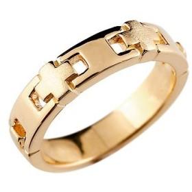 ピンキーリング クロスリング 指輪 地金リング ピンクゴールドk18 幅広 十字架 つや消し 宝石なし 18金 レディース ストレート 送料無料
