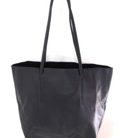 レザートート(黒) 山羊革 大きめ 本革 一枚革 トートバッグ