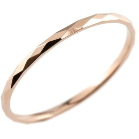 指輪 ピンクゴールドk10 カットリング 地金 ストレート 女性用 10金 送料無料