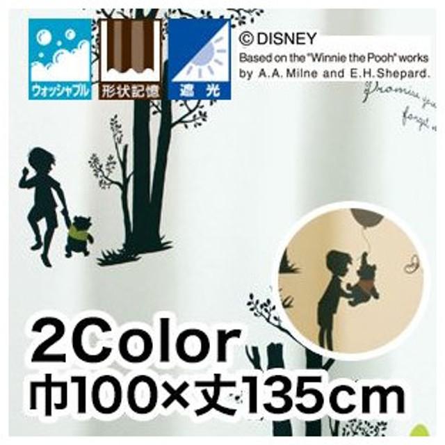 カーテン ディズニーファン必見スミノエ Disney カーテン POOH Shiny park 巾100×丈135cmM-1036/M-1037