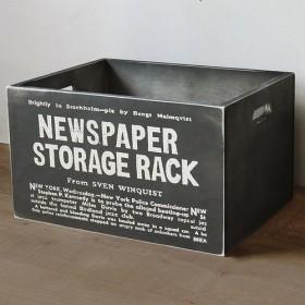 男前 木箱 新聞ストッカー 黒 アンティーク 収納ボックス BREA-1499-BK