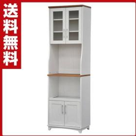 レンジ台 幅60  レンジラック 食器棚 MAN-02WH ホワイト (木目調) 食器棚 レンジボード レンジラック カップボード キッチンラック