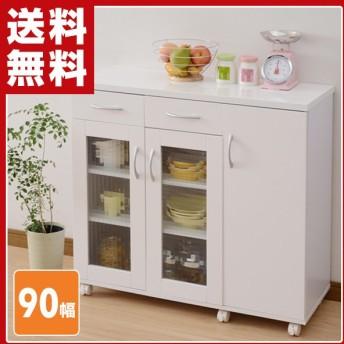 ベリーベリーキッチン キッチンカウンター 食器棚 幅90 HMK-C8590GC(SWH) シャイニーホワイト キッチンキャビネット カップボード レンジラック キャスター付き