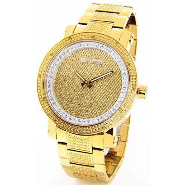 b01e8e8954e ジョジーノ 腕時計 メンズウォッチ JOJINO Real Diamond Watch Mens Oversized Icy Gold Tone  Case Metal Band