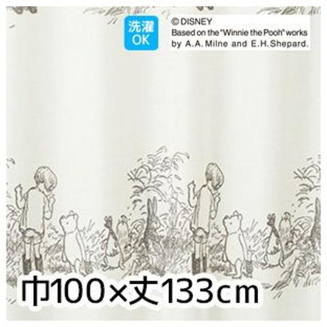 カーテン ディズニーファン必見スミノエ Disney レースカーテン POOH Secret シークレット 巾100×丈133cm M-1103M-1103