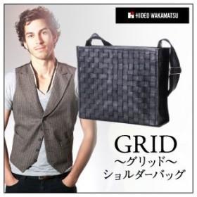 ビジネスバッグ ビジネスバック メンズ ブリーフケース HIDEO WAKAMATSU 牛革メッシュ編み込みショルダーバッグ グリッド あおりポケット付き ショルダー