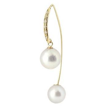 ピアス 揺れる パールピアス 真珠 フォーマル 片耳ピアス ロングピアス あこや本真珠 ダイヤモンド イエローゴールドk18 パールキャッチ 揺れる 誕生石 ダイヤ