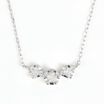 K18WG ダイヤモンドネックレス ダイヤ 0.18ct (K18WG アズキチェーン 40cm)