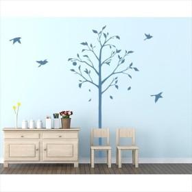 東京ステッカー 高級ウォールステッカー 植物 林檎の木と小鳥 Sサイズ *TS0051-DS ブルー  『おしゃれ かわいい』 『壁 シール』