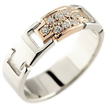ピンキーリング クロス ダイヤモンド リング 指輪 プラチナ ピンクゴールドk18 18k コンビリング ダイヤモンドリング ダイヤ 幅広指輪 十字架 レディース 18金