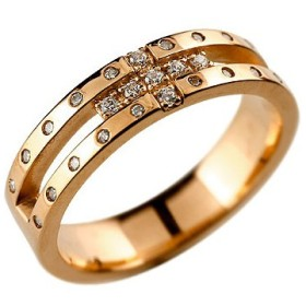 メンズ リング クロス ダイヤモンドリング ダイヤ 幅広 指輪 ピンキーリング ピンクゴールドk18 18金 ストレート 送料無料
